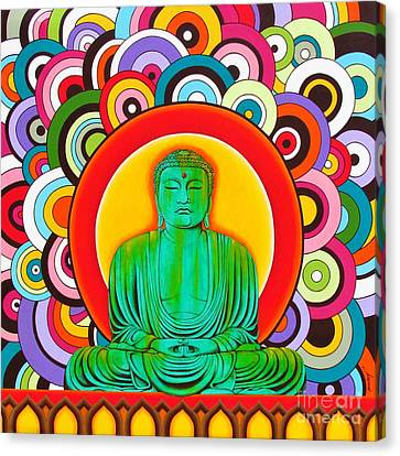 Canvas Print featuring the painting Groovy Buddha by Joseph Sonday