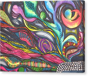 Canvas Print featuring the painting Groovy Series Titled Thoughts by Chrisann Ellis