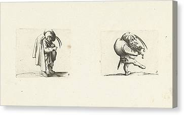 Grotesque Figure With Hurdy-gurdy Dwarf With Grill And Sword Canvas Print