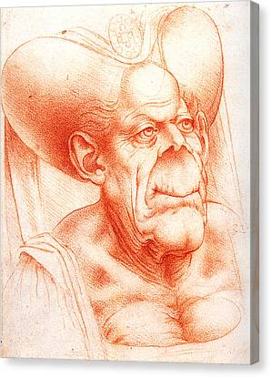 Grotesque Head Chalk Drawing Canvas Print