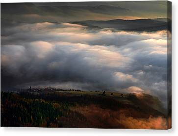 Canvas Print featuring the photograph Ground Clouds by Graham Hawcroft pixsellpix