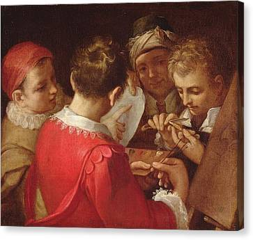 Group Of Artists Oil On Canvas Canvas Print by Annibale Carracci