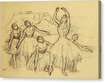 Rehearsing Canvas Print - Group Of Dancers by Edgar Degas