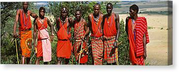 Group Of Maasai People Standing Side Canvas Print by Panoramic Images