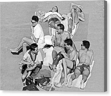 Group Of Men Sunbathing Canvas Print by Underwood Archives