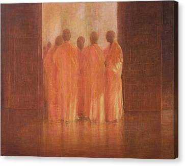 Group Of Monks, Vietnam Canvas Print by Lincoln Seligman