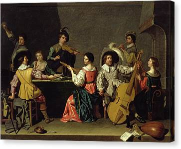Pouring Wine Canvas Print - Group Of Musicians by Jan van Bijlert or Bylert