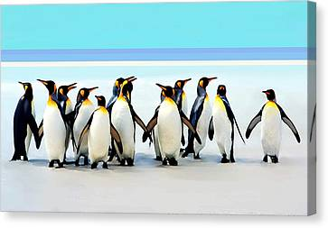 Group Of Penguins Canvas Print by Helen Stapleton
