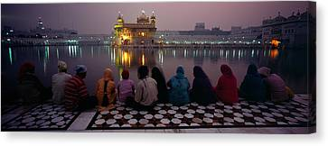 Golden Temple Canvas Print - Group Of People At A Temple, Golden by Panoramic Images