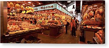 Group Of People In A Vegetable Market Canvas Print by Panoramic Images
