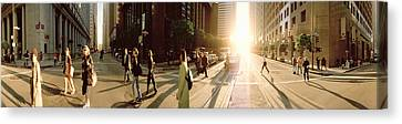 Group Of People Walking On The Street Canvas Print