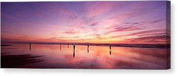 Group Of People Watching The Sunset Canvas Print