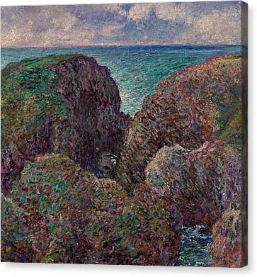 Group Of Rocks At Port Goulphar Canvas Print by Claude Monet