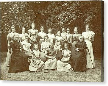 Group Portrait Of Girls And Teachers, With Tennis Canvas Print