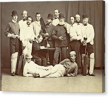 Group Portrait Of The Members Of The Christiania Cricket Canvas Print