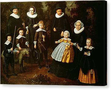 Group Portrait Of Three Generations Of A Family In The Grounds Of A Country House Oil On Canvas Canvas Print by Dirck Santvoort