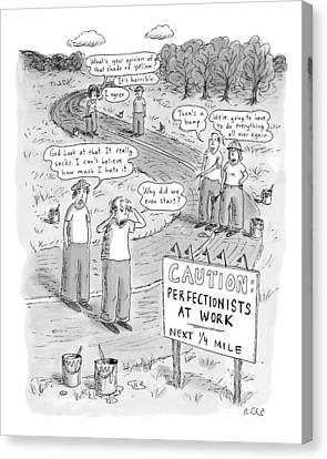Groups Of Construction Workers Paralyzed Canvas Print by Roz Chast