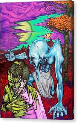 Canvas Print featuring the drawing Growing Evils by Michael  TMAD Finney