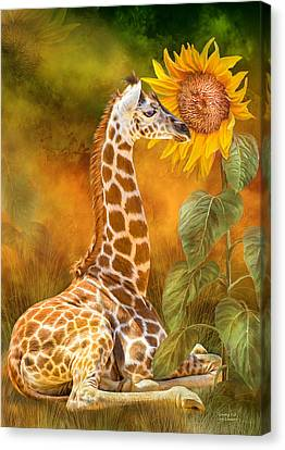 Canvas Print featuring the mixed media Growing Tall - Giraffe by Carol Cavalaris