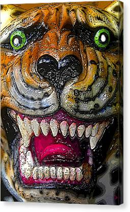 Growling Canvas Print - Growling Tiger Face by David Lee Thompson
