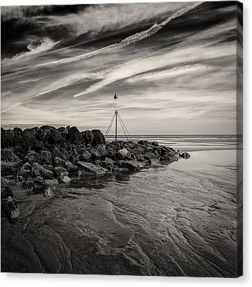 Groyne Marker Canvas Print by Dave Bowman