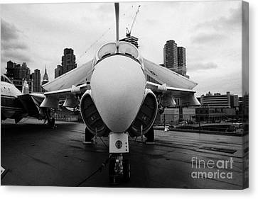 Grumman A6 A6f Intruder On Display On The Flight Deck At The Intrepid Sea Air Space Museum Canvas Print by Joe Fox