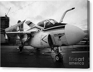 Grumman A6f A6 Intruder On Display On The Flight Deck At The Intrepid Sea Air Space Museum Canvas Print by Joe Fox