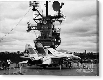 Grumman F14 In Front Of The Bridge On The Flight Deck Of The Uss Intrepid  Canvas Print