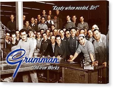 Grumman Iron Works Shop Workers Canvas Print