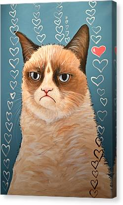 Grumpy Cat Art ... Love You Canvas Print
