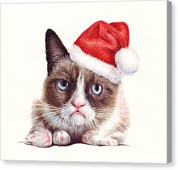 Hat Canvas Print - Grumpy Cat As Santa by Olga Shvartsur
