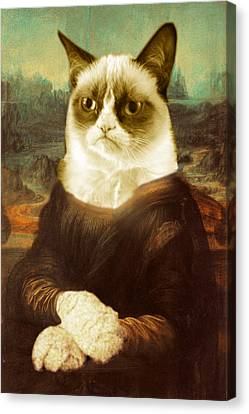 Grumpy Cat Mona Lisa Canvas Print by Tony Rubino