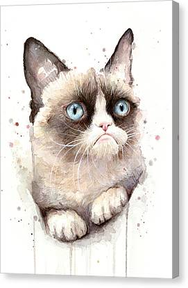 Grumpy Cat Watercolor Canvas Print by Olga Shvartsur