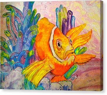 Clown Fish Canvas Print - Grumpy by Debi Starr