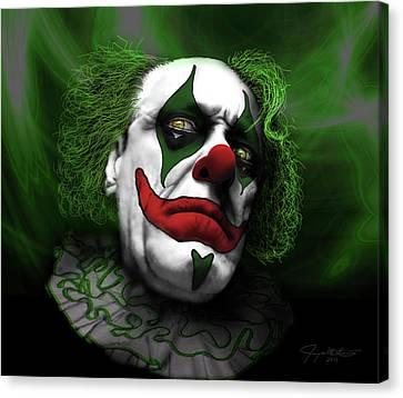 Grumpy Green Meanie Canvas Print by Jeremy Martinson
