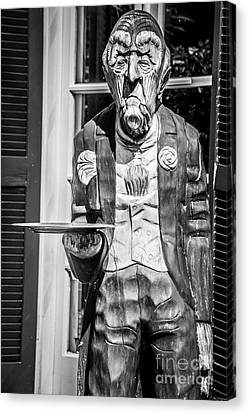 Grumpy Old Waiter Carving Key West - Black And White Canvas Print by Ian Monk