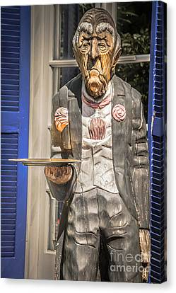 Grumpy Old Waiter Carving Key West - Hdr Style Canvas Print by Ian Monk