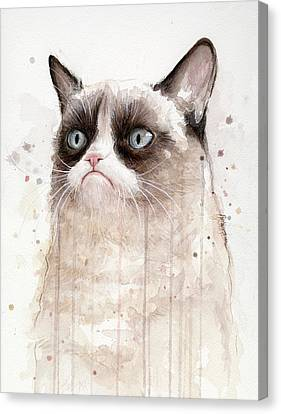 Grumpy Watercolor Cat Canvas Print by Olga Shvartsur