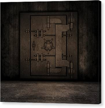 Grunge Interior With Bank Vault Canvas Print by Kirsty Pargeter