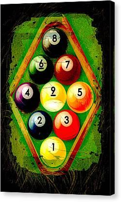 Grunge Style 9 Ball Rack Canvas Print by David G Paul