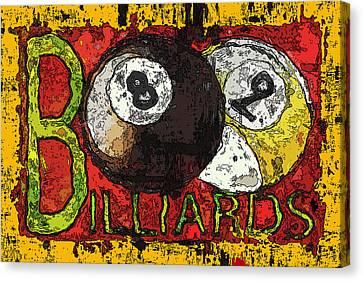 Grunge Style Billiards Sign Canvas Print