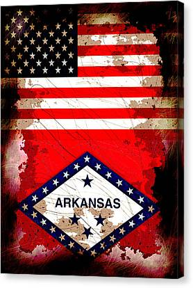 Grunge Style Usa And Arkansas Flags Canvas Print by David G Paul