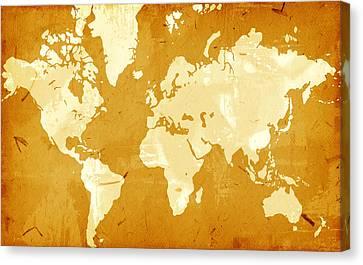 Grunge Style World Map Canvas Print by Modern Art Prints