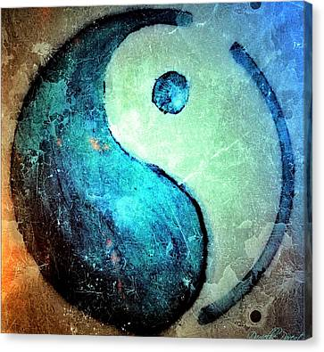 Grunge Yin Yang Water Is Precious Canvas Print
