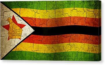Grunge Zimbabwe Flag Canvas Print