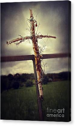 Attaching Canvas Print - Grungy Cross by Carlos Caetano