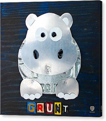 Grunt The Hippo License Plate Art Canvas Print by Design Turnpike