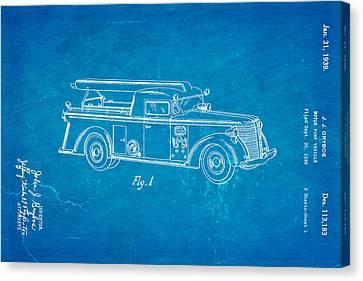 Grybos Fire Truck Patent Art 1939 Blueprint Canvas Print by Ian Monk