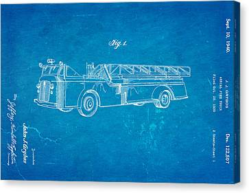 Grybos Fire Truck Patent Art 1940 Blueprint Canvas Print by Ian Monk