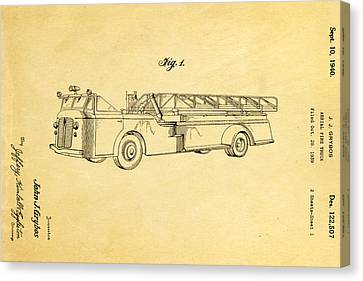 Grybos Fire Truck Patent Art 1940 Canvas Print by Ian Monk